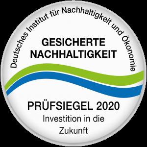 Prüfsiegel gesicherte Nachhaltigkeit 2020